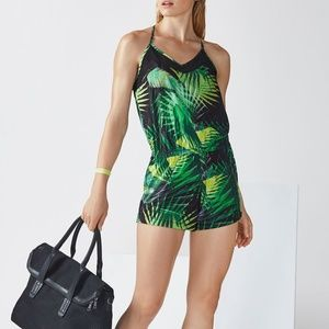 NWT FABLETICS DASH ROMPER GREEN LEAVES PALMS SMALL